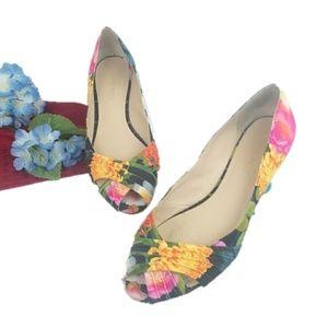 Nine West jbirdr Floral Peep Toe Ballet Flats 6